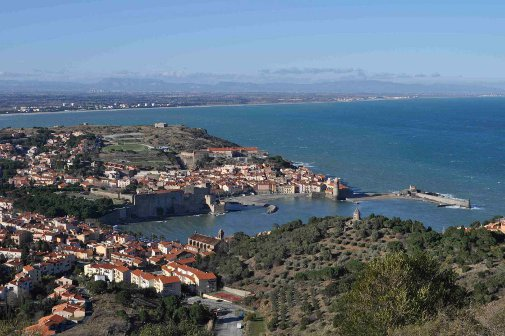 Bird's eye view of Collioure